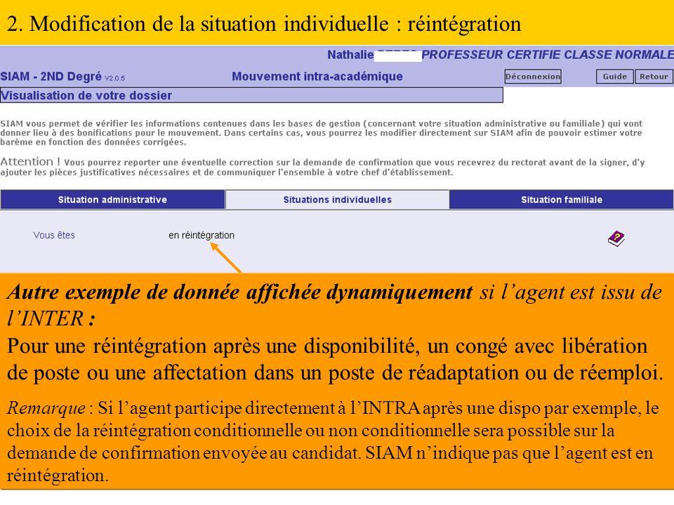 2. Modification de la situation individuelle : réintégration