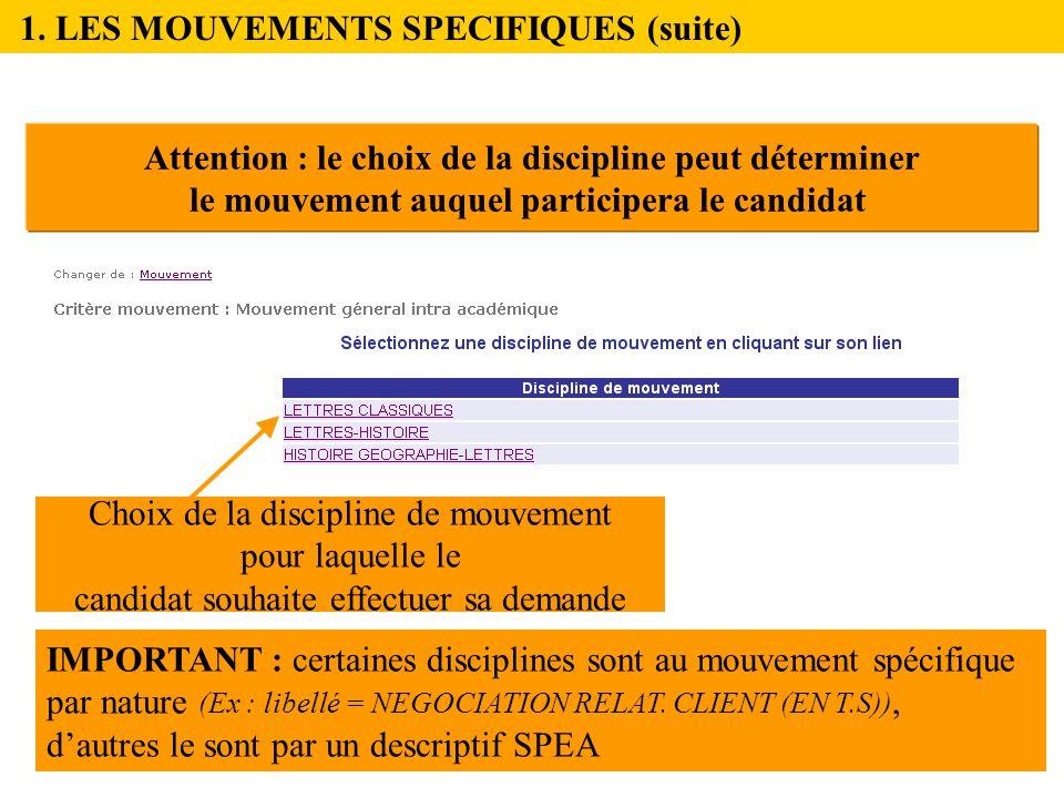 1. LES MOUVEMENTS SPECIFIQUES (suite)
