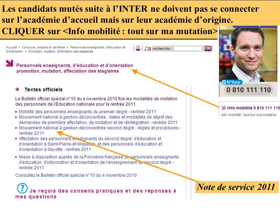 Les candidats mutés suite à l'INTER ne doivent pas se connecter