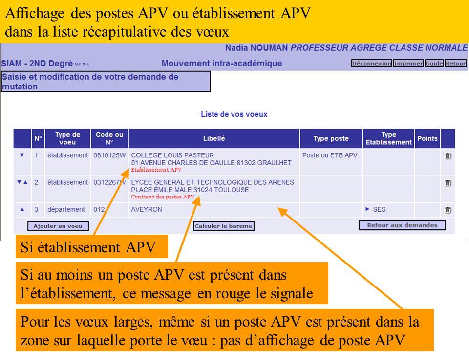 Affichage des postes APV ou établissement APV dans la liste récapitulative des vœux