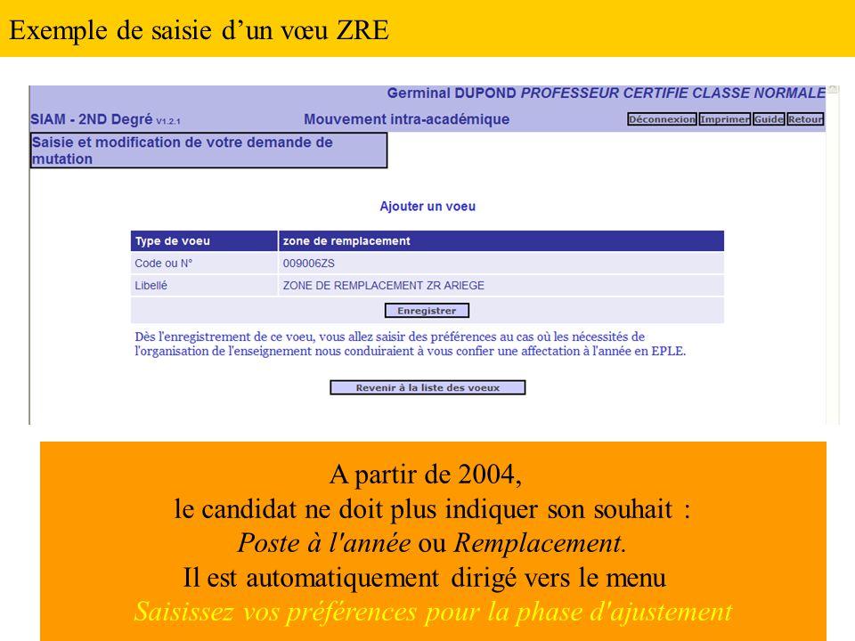 Exemple de saisie d'un vœu ZRE