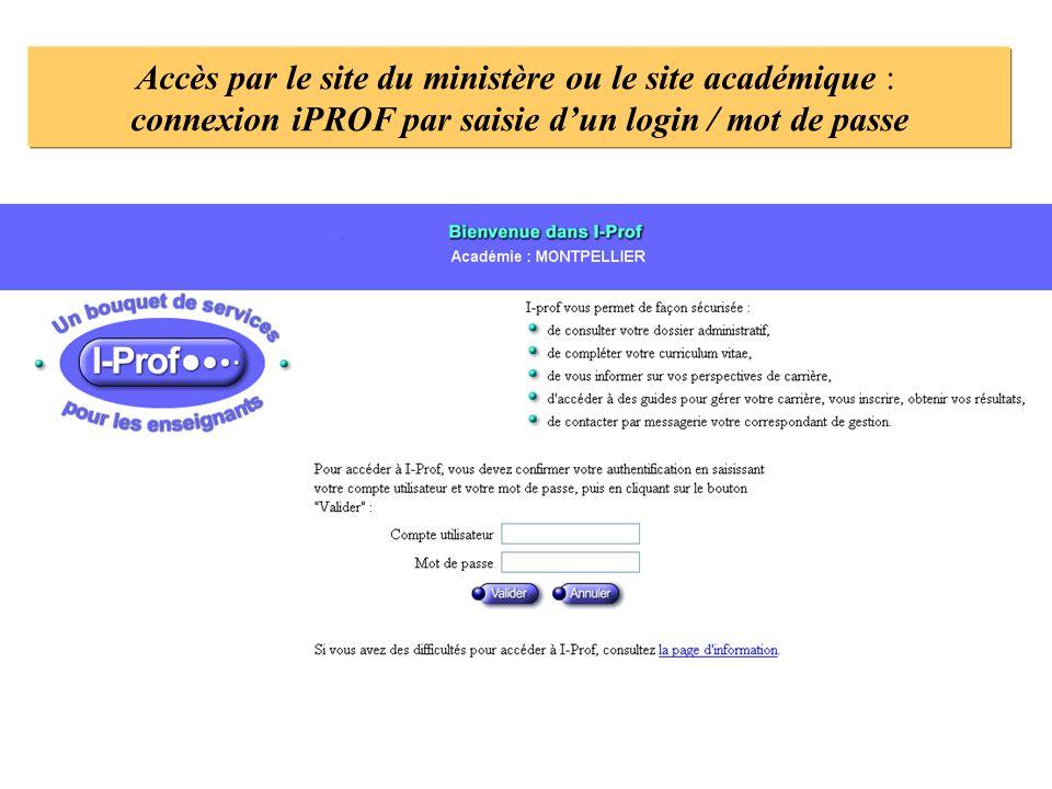 connexion iPROF par saisie d'un login / mot de passe