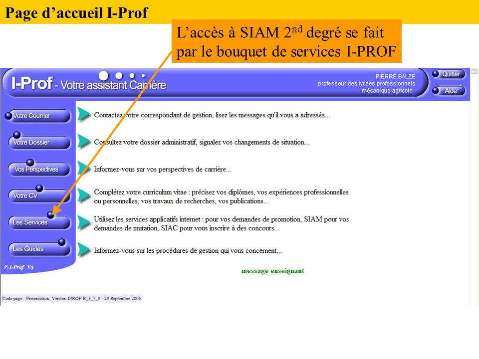 Page d'accueil I-Prof L'accès à SIAM 2nd degré se fait par le bouquet de services I-PROF