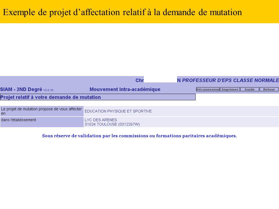 Exemple de projet d'affectation relatif à la demande de mutation