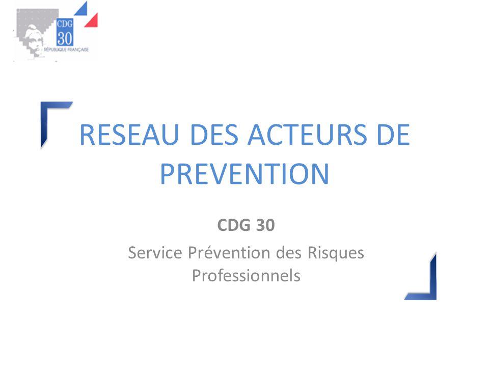 RESEAU DES ACTEURS DE PREVENTION