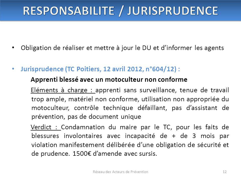 RESPONSABILITE / JURISPRUDENCE