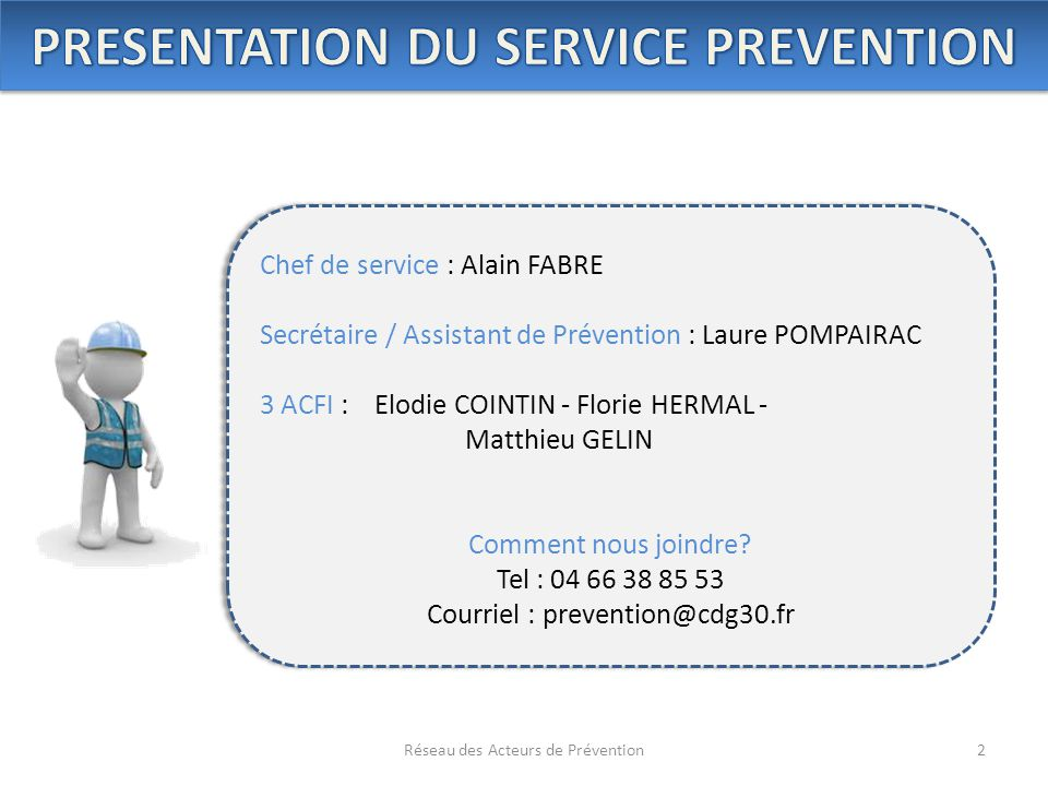 PRESENTATION DU SERVICE PREVENTION