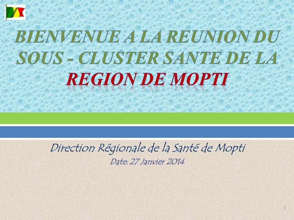 BIENVENUE A LA REUNION DU SOUS - CLUSTER SANTE DE LA REGION DE MOPTI