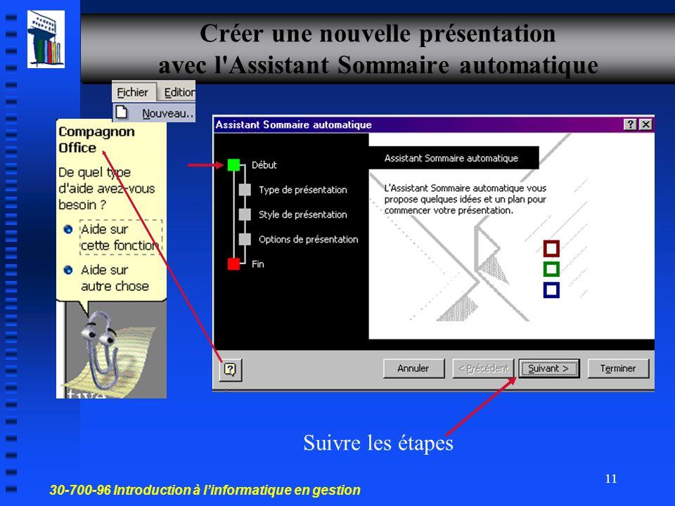 Créer une nouvelle présentation avec l Assistant Sommaire automatique