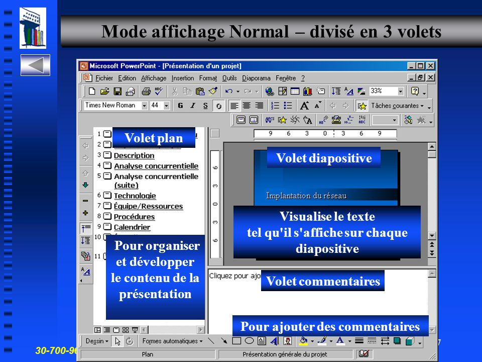 Mode affichage Normal – divisé en 3 volets