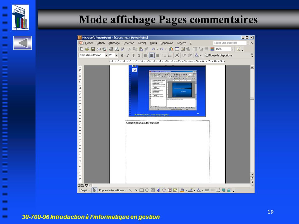 Mode affichage Pages commentaires