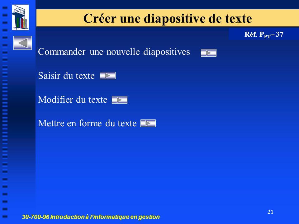 Créer une diapositive de texte