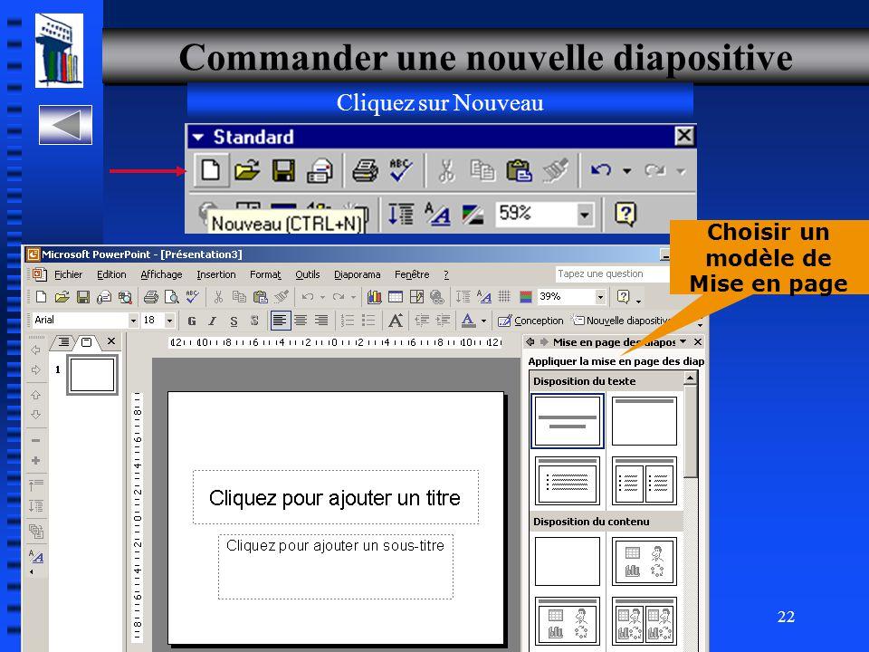 Commander une nouvelle diapositive