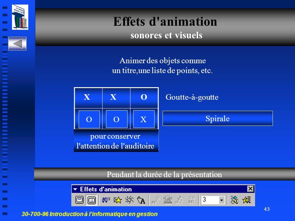 Effets d animation sonores et visuels