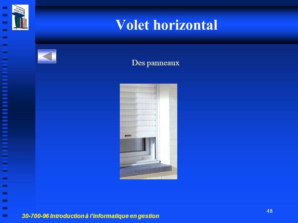 Volet horizontal Des panneaux