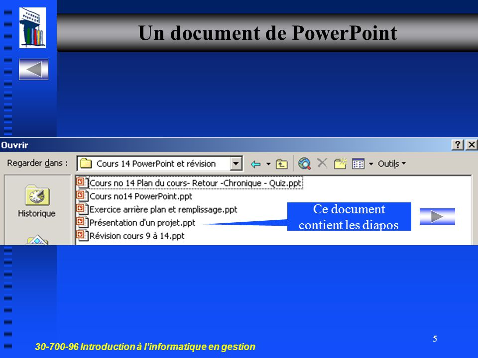 Un document de PowerPoint