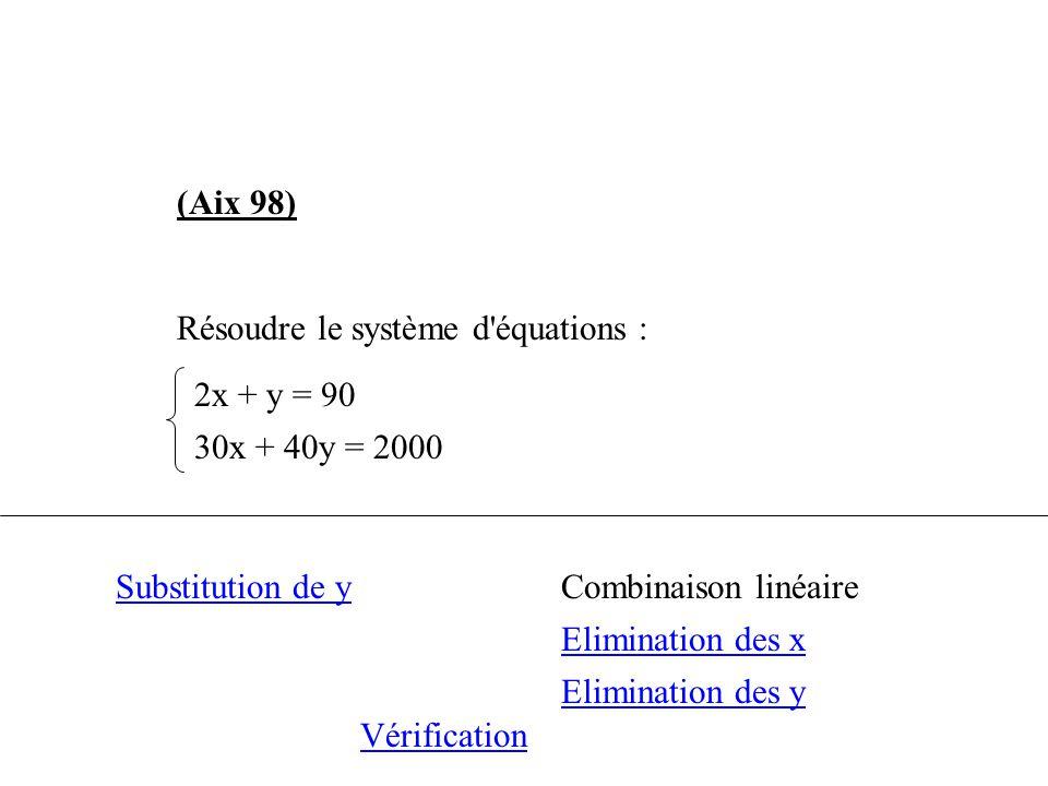 (Aix 98) Résoudre le système d équations : 2x + y = 90. 30x + 40y = 2000. Substitution de y. Combinaison linéaire.