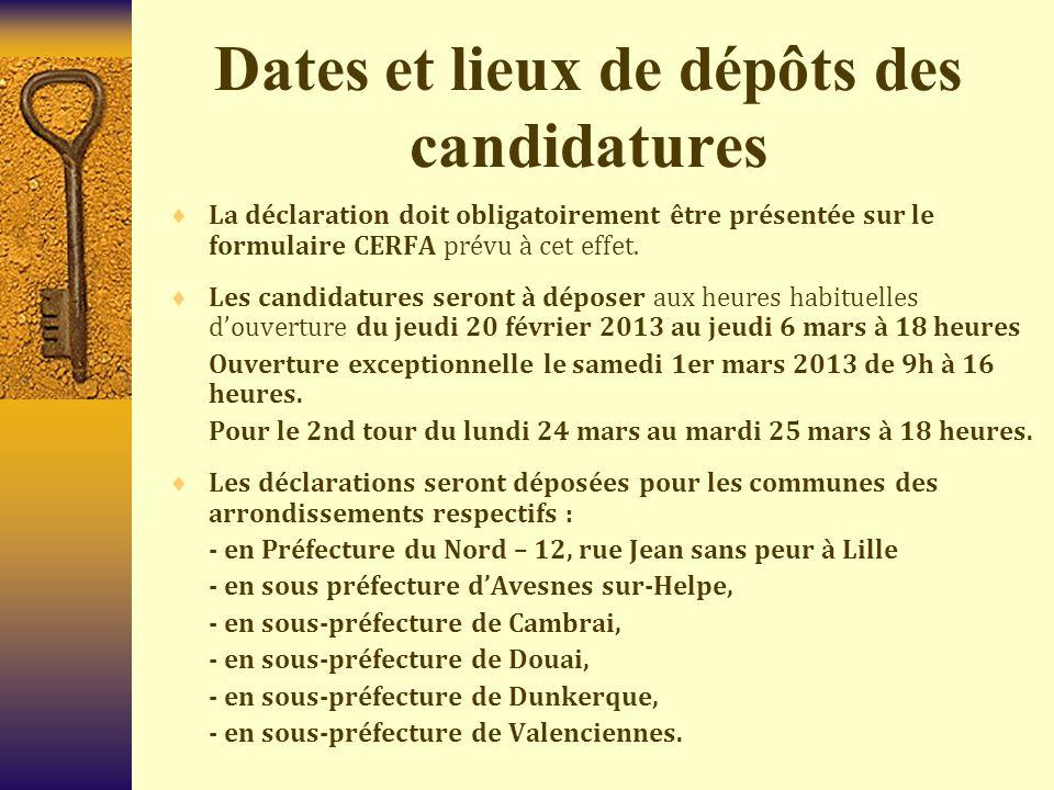 Dates et lieux de dépôts des candidatures