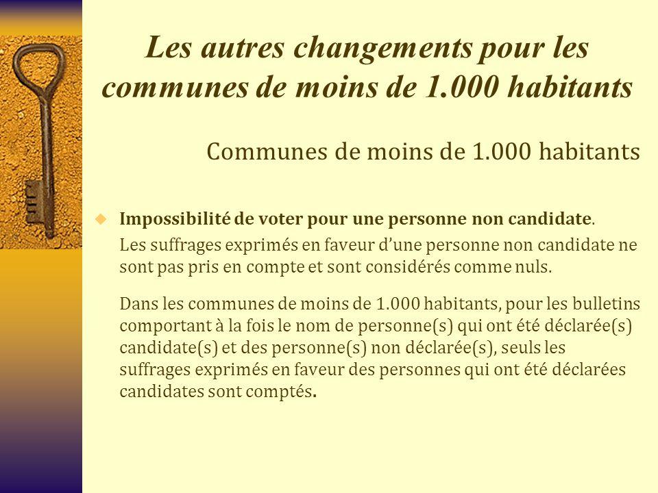 Les autres changements pour les communes de moins de 1.000 habitants