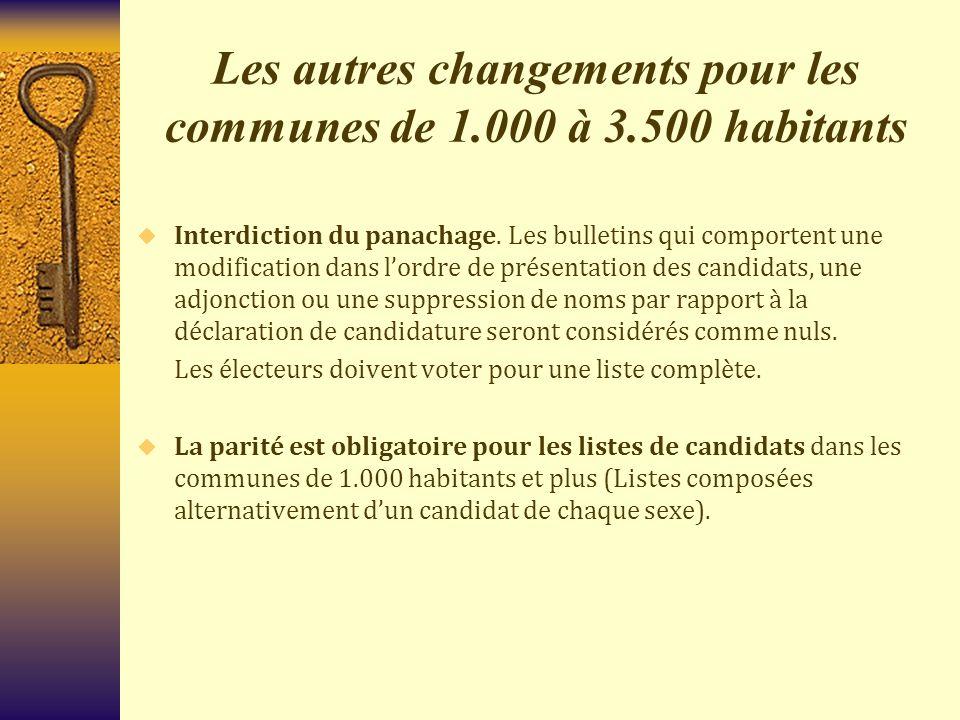 Les autres changements pour les communes de 1.000 à 3.500 habitants