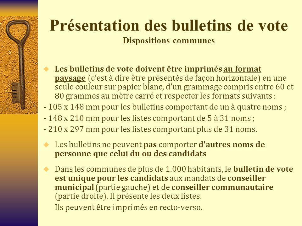 Présentation des bulletins de vote Dispositions communes