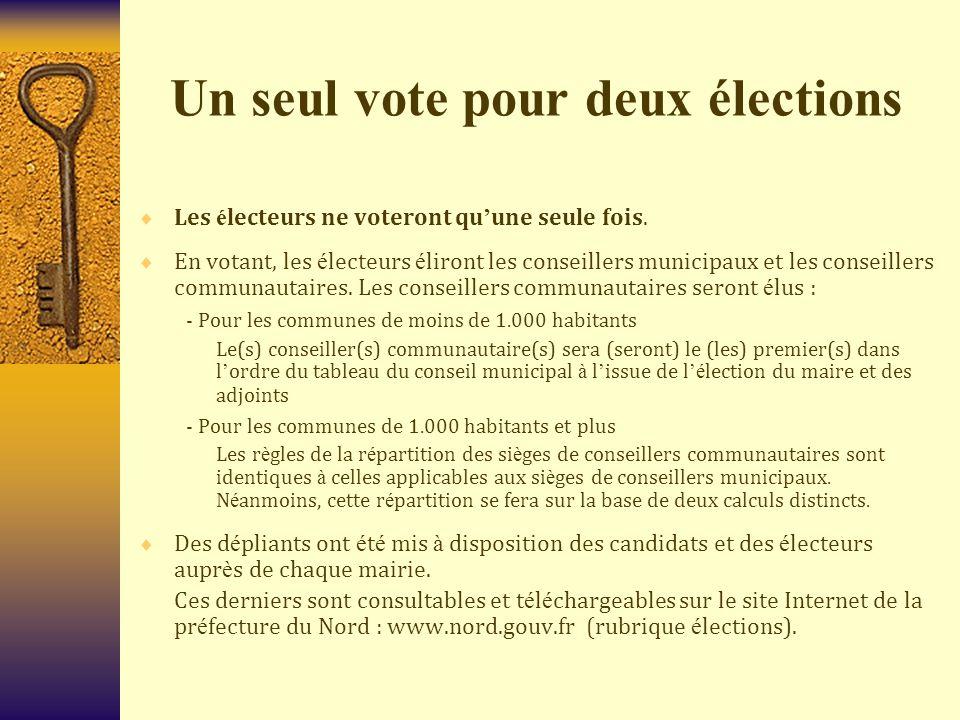 Un seul vote pour deux élections