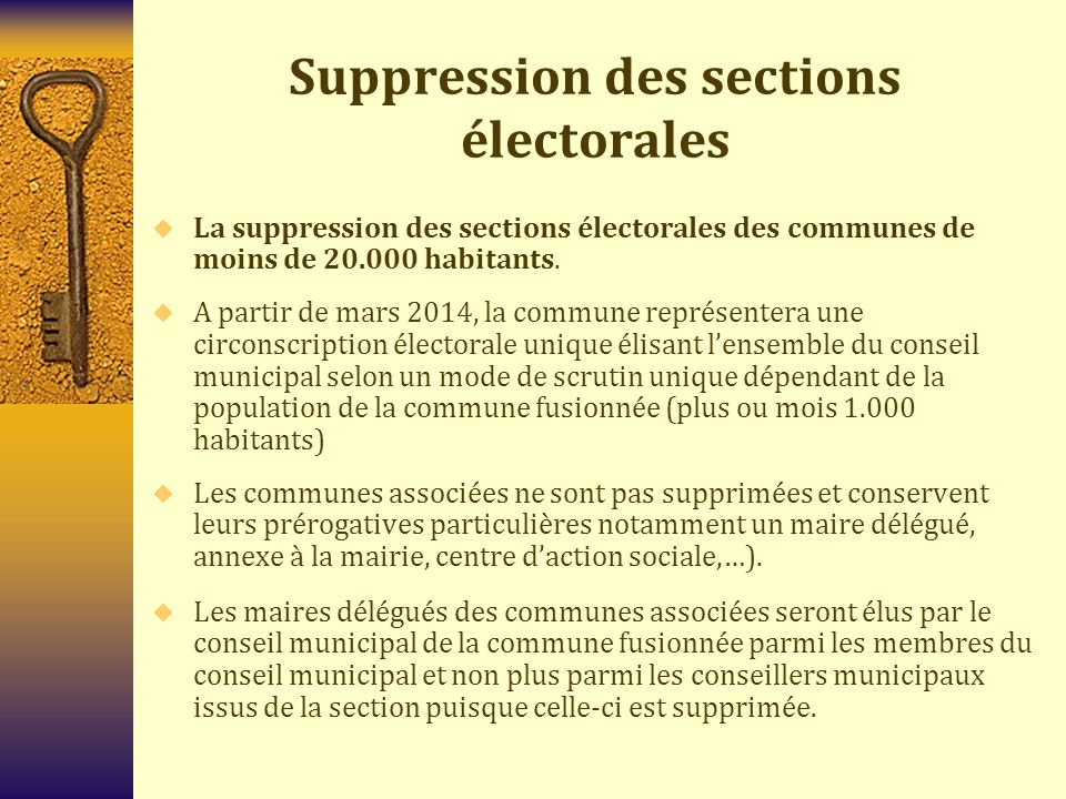 Suppression des sections électorales