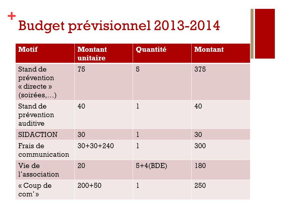 Budget prévisionnel 2013-2014 Motif Montant unitaire Quantité Montant