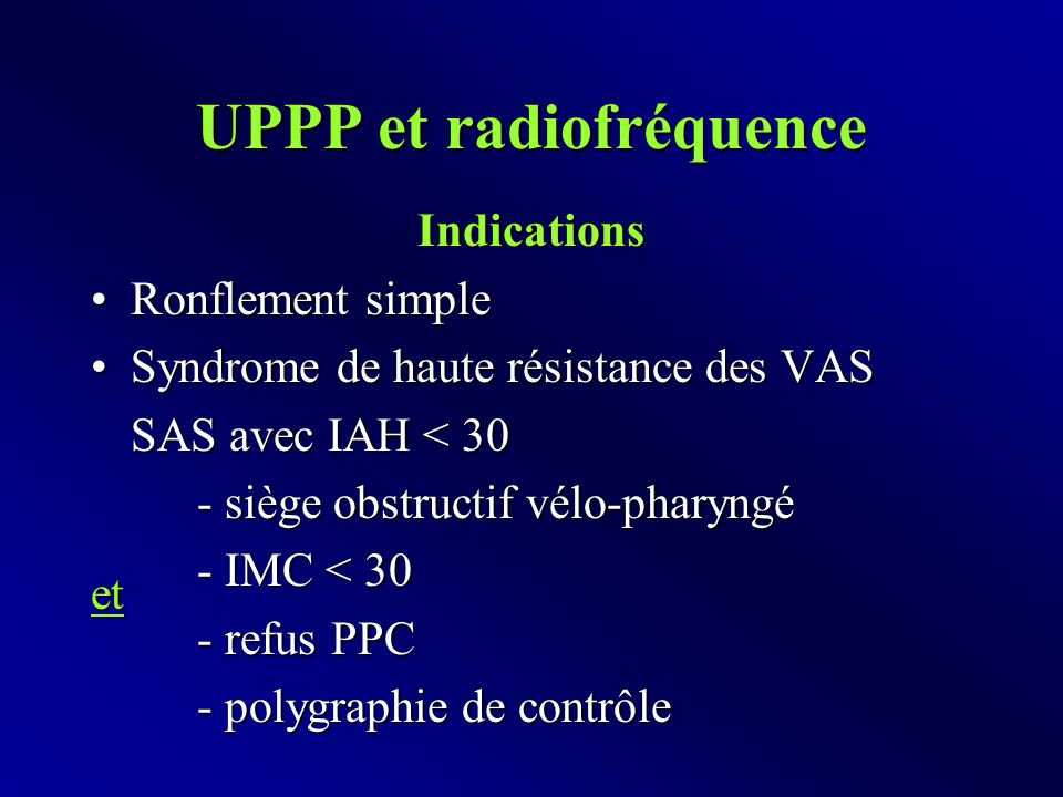 UPPP et radiofréquence