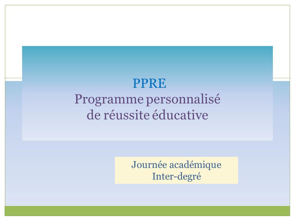 PPRE Programme personnalisé de réussite éducative