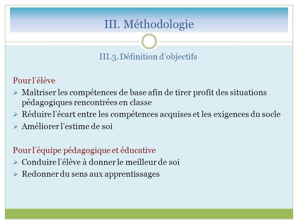 III.3. Définition d'objectifs