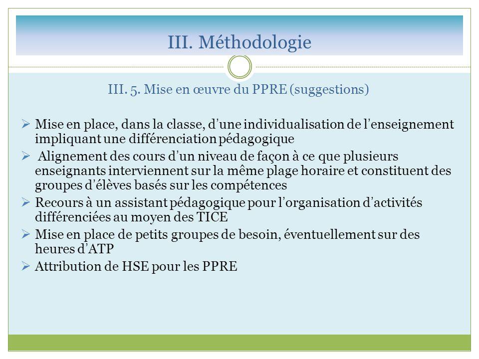 III. 5. Mise en œuvre du PPRE (suggestions)