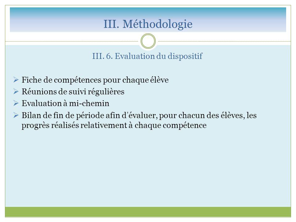 III. 6. Evaluation du dispositif