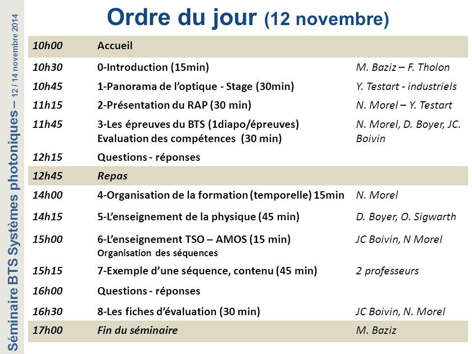 Ordre du jour (12 novembre)