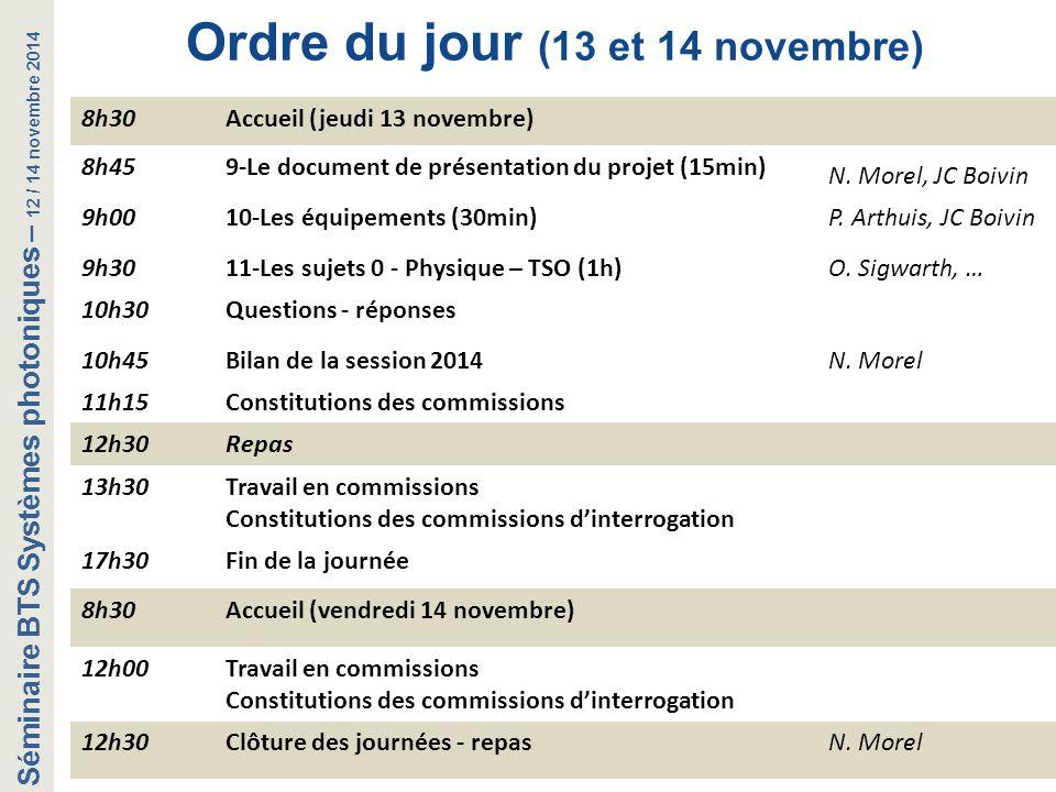 Ordre du jour (13 et 14 novembre)
