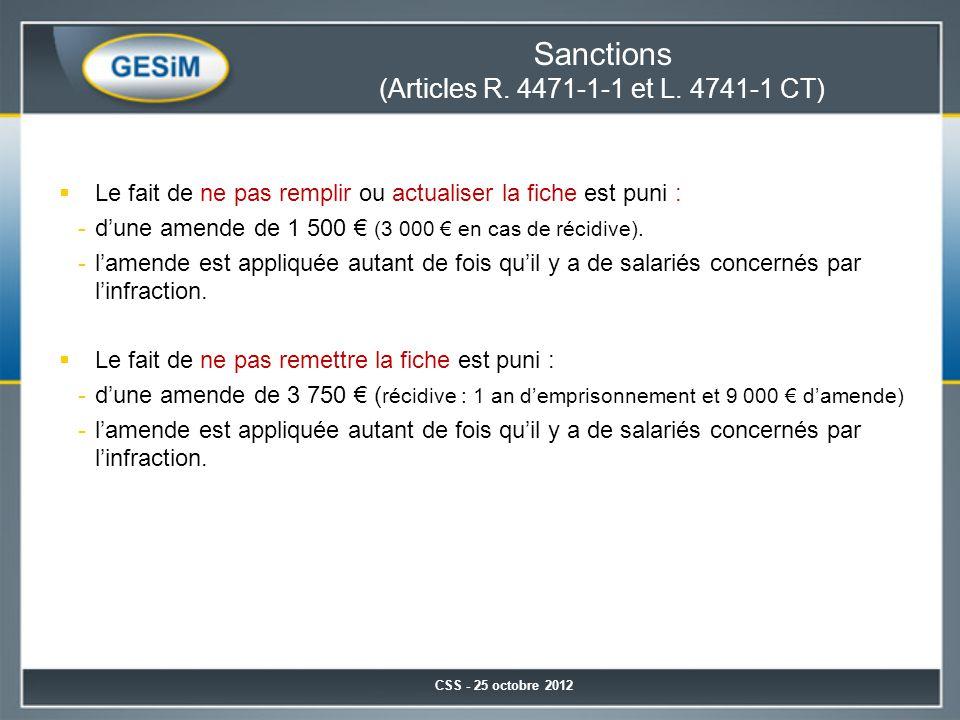 Sanctions (Articles R. 4471-1-1 et L. 4741-1 CT)