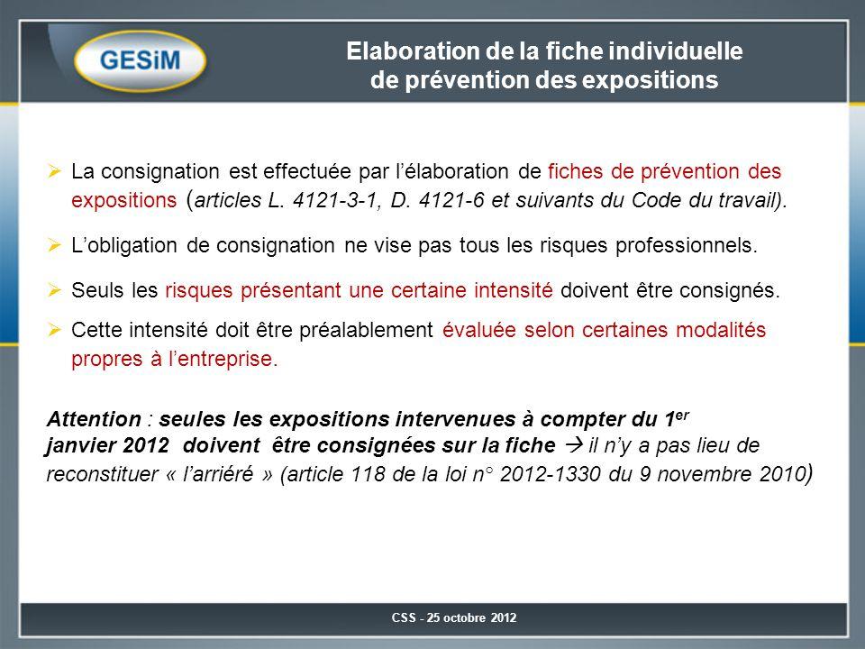 Elaboration de la fiche individuelle de prévention des expositions