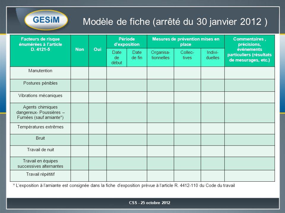 Modèle de fiche (arrêté du 30 janvier 2012 )