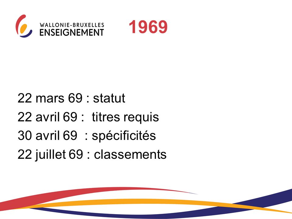 1969 22 mars 69 : statut 22 avril 69 : titres requis
