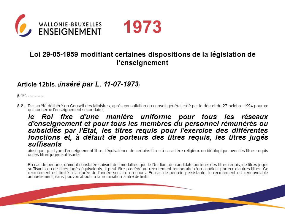 Loi 29-05-1959 modifiant certaines dispositions de la législation de