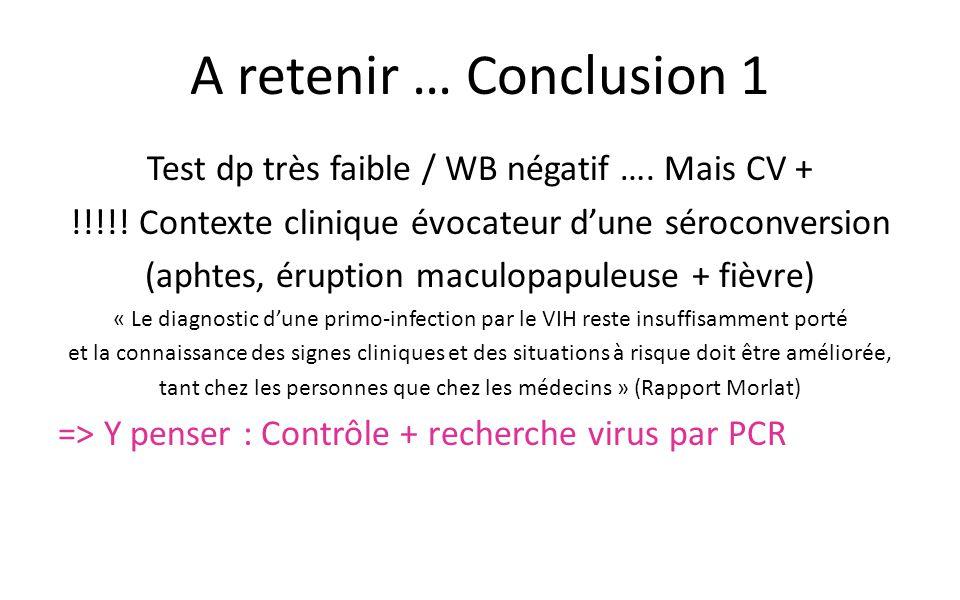 A retenir … Conclusion 1 Test dp très faible / WB négatif …. Mais CV +