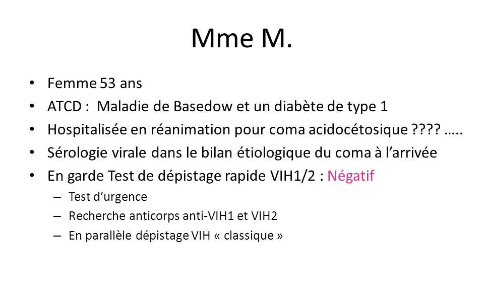 Mme M. Femme 53 ans ATCD : Maladie de Basedow et un diabète de type 1