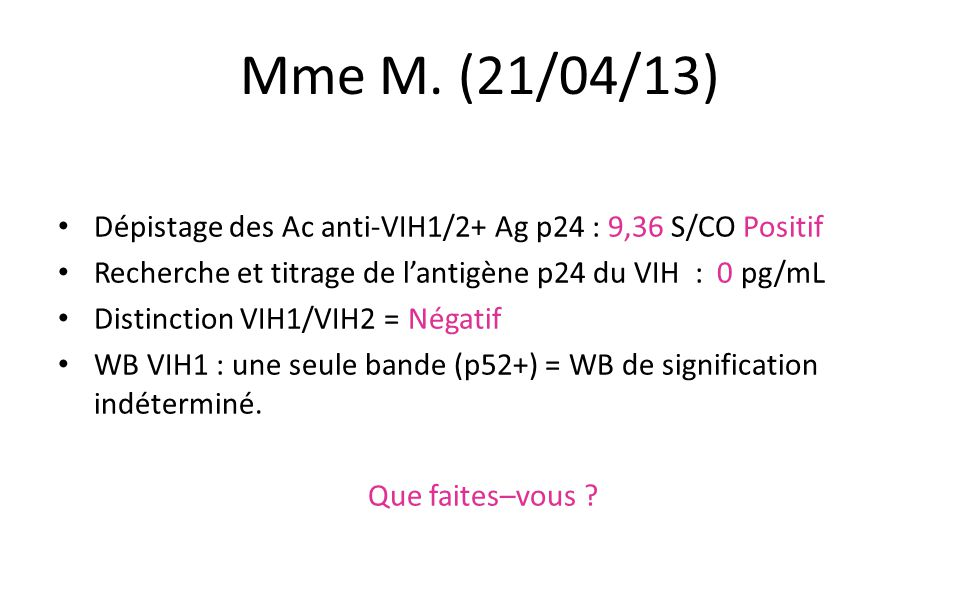 Mme M. (21/04/13) Dépistage des Ac anti-VIH1/2+ Ag p24 : 9,36 S/CO Positif. Recherche et titrage de l'antigène p24 du VIH : 0 pg/mL.