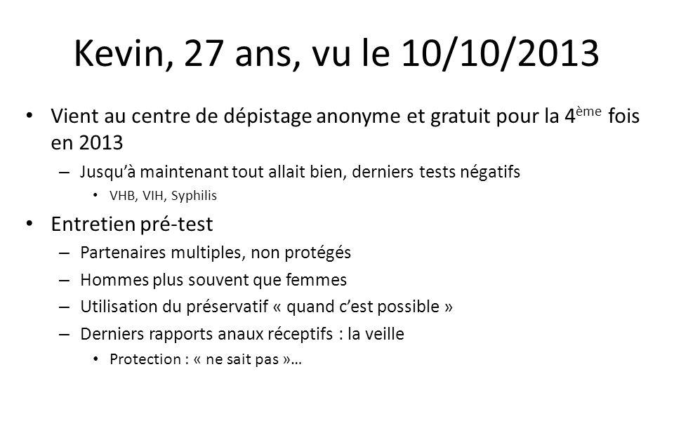 Kevin, 27 ans, vu le 10/10/2013 Vient au centre de dépistage anonyme et gratuit pour la 4ème fois en 2013.