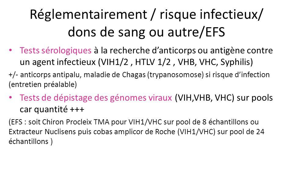 Réglementairement / risque infectieux/ dons de sang ou autre/EFS