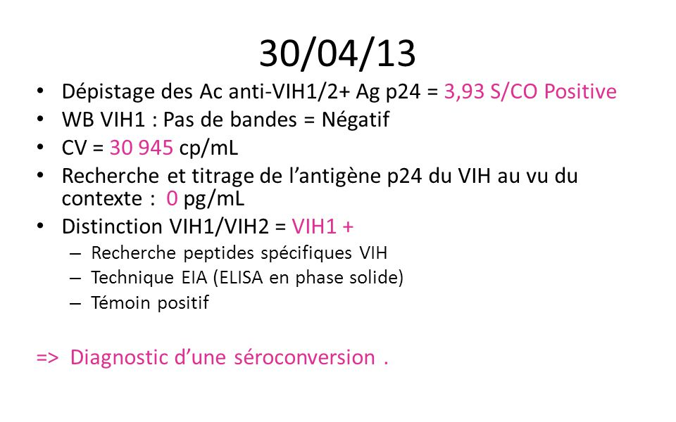 30/04/13 Dépistage des Ac anti-VIH1/2+ Ag p24 = 3,93 S/CO Positive