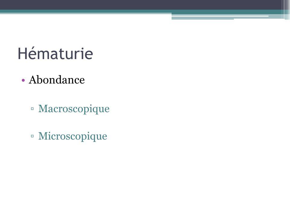 Hématurie Abondance Macroscopique Microscopique