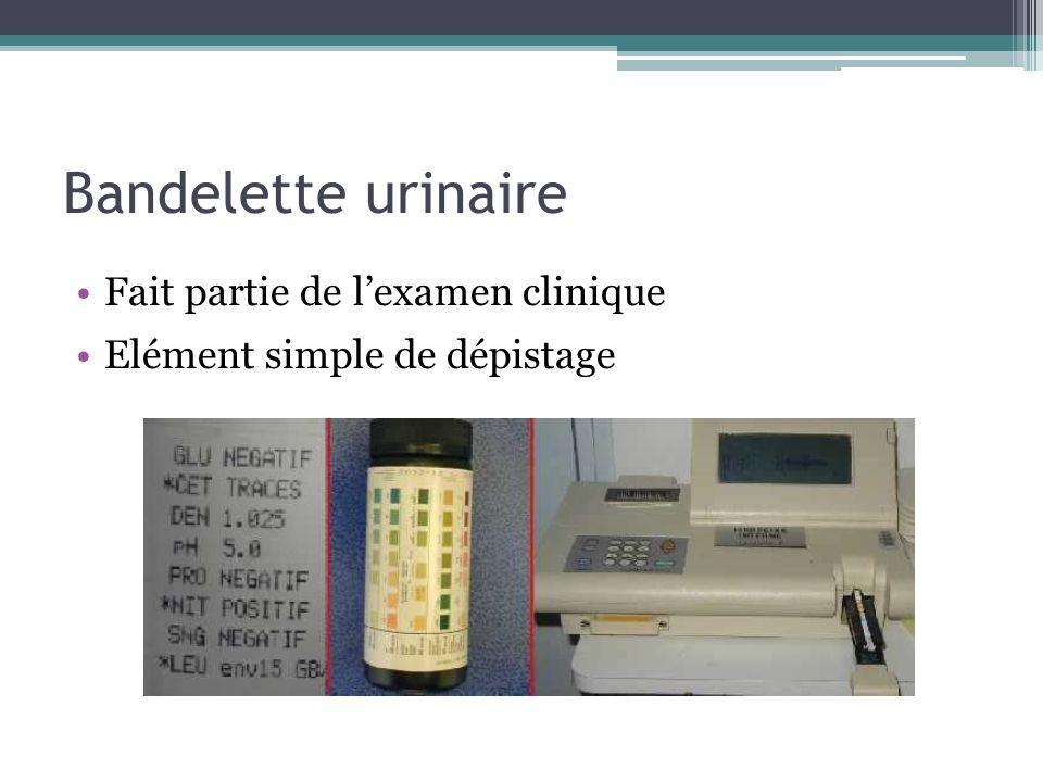 Bandelette urinaire Fait partie de l'examen clinique