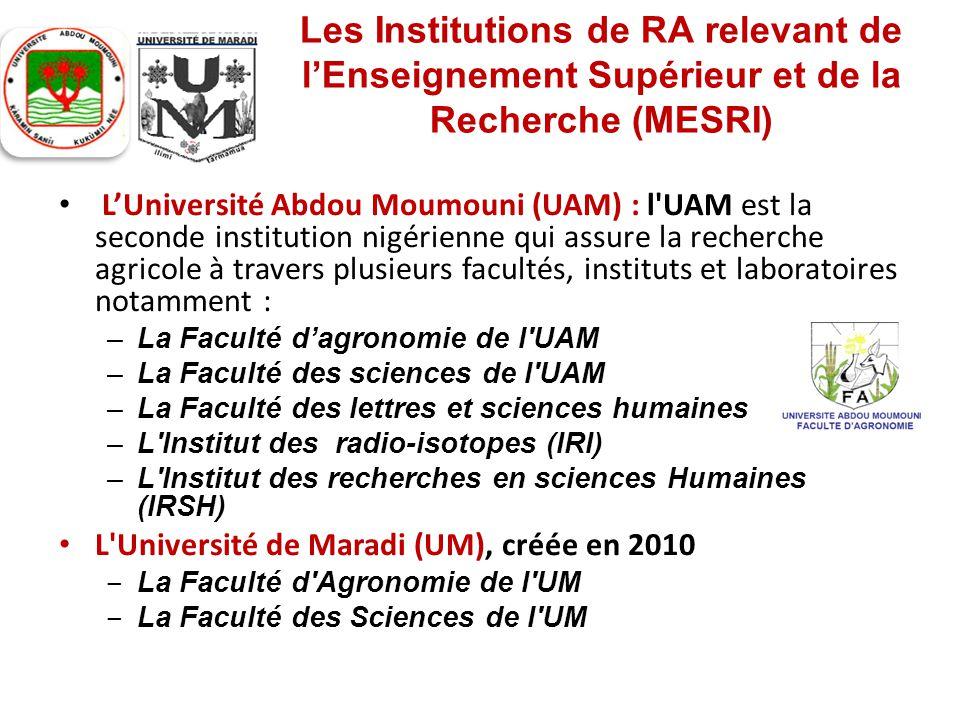 Les Institutions de RA relevant de l'Enseignement Supérieur et de la Recherche (MESRI)