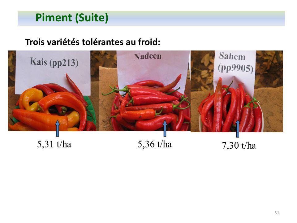 Piment (Suite) Trois variétés tolérantes au froid: 7,30 t/ha 5,31 t/ha